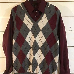 Express Mens Dress Shirt And Sweater Vest L/XL.